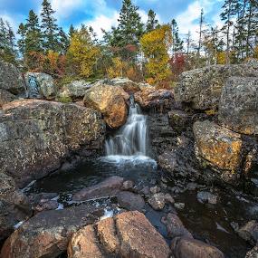 Autumn Falls by Gordon Follett - Landscapes Waterscapes ( newfoundland, nature, waterscape, autumn, waterfall, falls, fall, nature up close, nature close up, autumn colors, river )