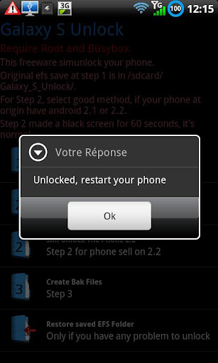 "Galaxy S Unlock Sim unlock Galaxy S, Galaxy S II and his Variants (Vibrant, Captivate), Galaxy Tab and Note.  This app unlock by ""patch"" nv_data files. All files are backuped at step 1."