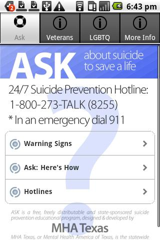Ask & Prevent Suicide - screenshot