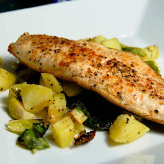 Pan Seared Trout w/ Roasted Brussels Sprouts & Potatoes.