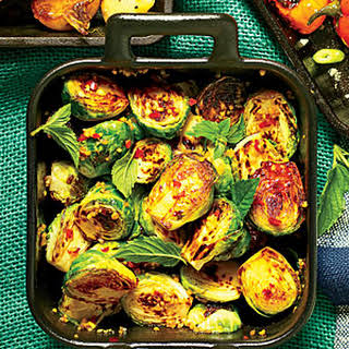 Cast-Iron Blistered Brussels Sprouts.