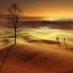 sunset in the Cloth Desert by Budi Cc-line - Digital Art Places ( desert, cloth, sunset )