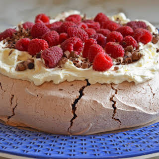 Double Chocolate Pavlova with Marscapone Cream & Raspberries.