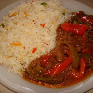 Chinese Rice with Capsicum/Pepper Steak.