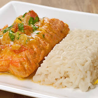 Salmon With Curried Coconut-Tomato Sauce.