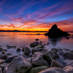 Breathless by Davor Strenja - Landscapes Waterscapes ( more, red, scape, sunset, zalazak, croatia, sunce, stone, sea, zadar )