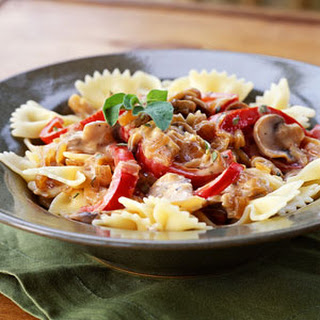 Pasta with Caramelized Onions, Mushrooms, and Bell Pepper.
