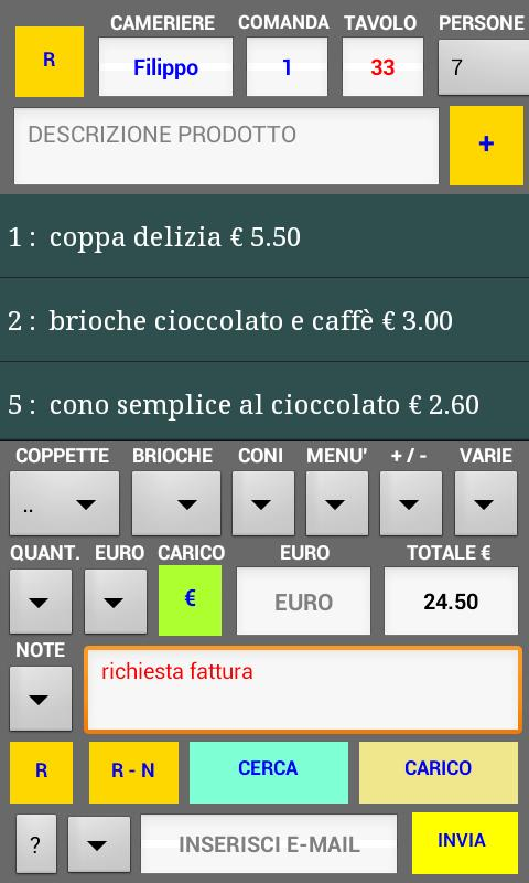 gestione comande gelateria - screenshot