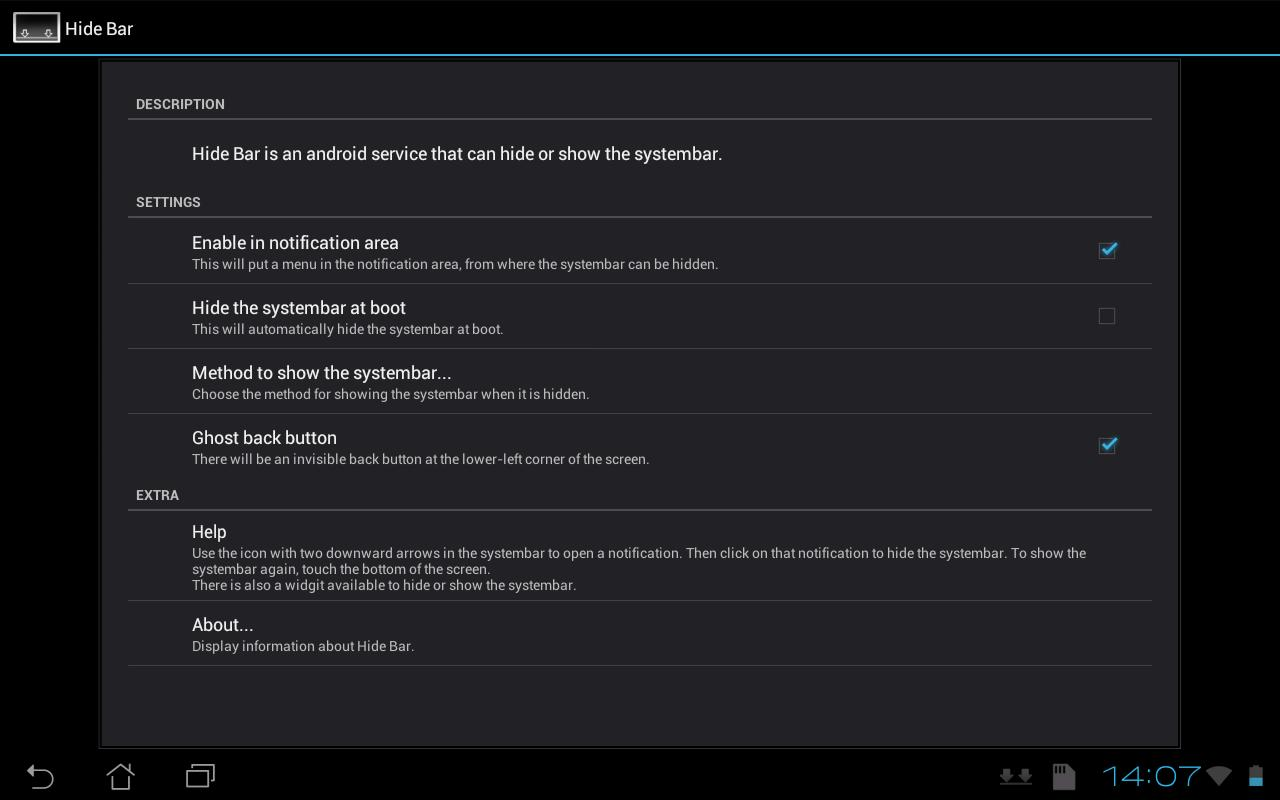 Hide Bottom Bar: captura de pantalla