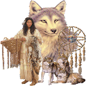 native woman with wolves LWP logo