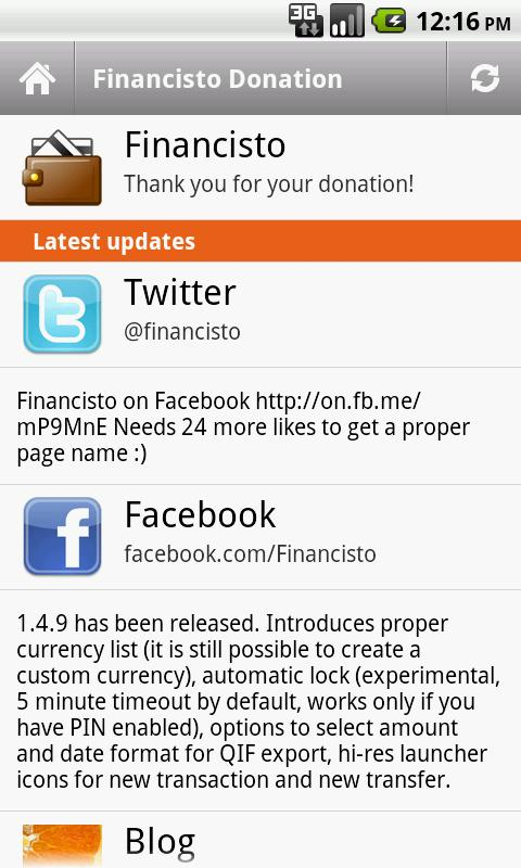Financisto Donation- screenshot