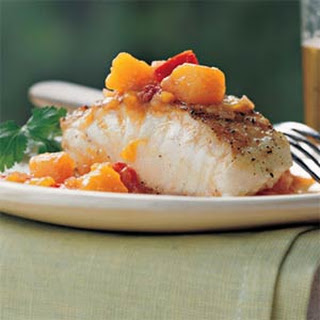 Grilled Striped Bass with Chunky Mango-Ginger Sauce.