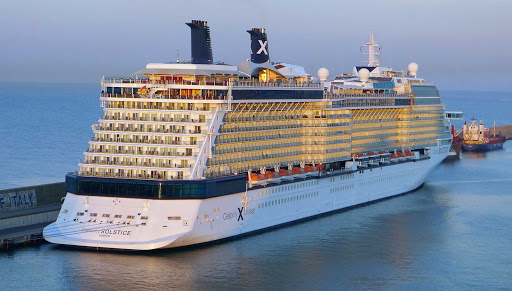 Celebrity Solstice in Civitavecchia, the unpronounceable port where cruise passengers disembark en route to Rome.