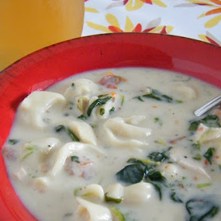 Easy Alfredo Tortellini Soup.