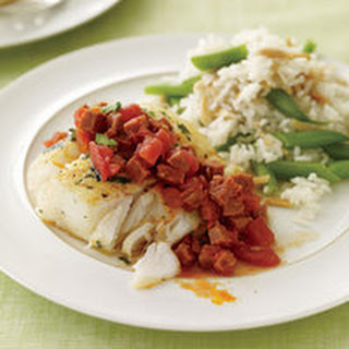 Cod with Chorizo and Almond-Green Bean Rice.