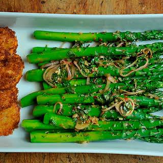 Thai-Inspired Asparagus Salad with Fried Meyer Lemon.