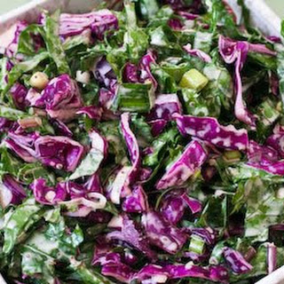 Recipe for Red Russian Kale and Red Cabbage Slaw.