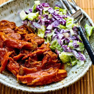 Slow Cooker Recipe for Pulled Pork with Low-Sugar Barbecue Sauce.