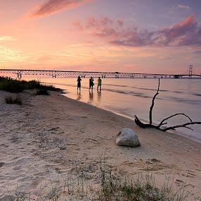 Sault Ste. Marie  Michigan USA by Bill Redmond - Landscapes Travel ( michigan, sunset, travel, bridge, landscape )