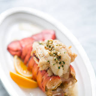 Broiled Lobster Tail with Brown Butter Sauce.
