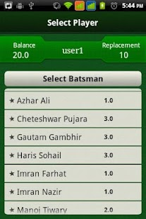 Cricket Selector- screenshot thumbnail