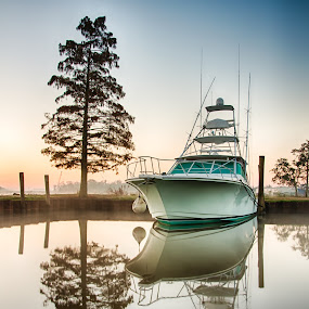 Intracoastal Reflections. by Robb Harper - Transportation Boats ( water, reflection, boats, photos by robb harper )