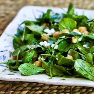 Arugula Chickpea Salad with Feta and Balsamic-Tahini Vinaigrette.