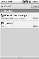 Screenshot of Missed Text Reminder