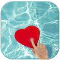 Magic touch heart in water icon