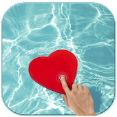 Magic touch heart in water