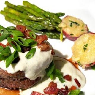 Grilled Filet Mignon with Gorgonzola Cream Sauce.