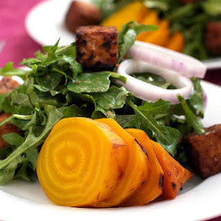 Roasted Yellow Beet Salad With Warm Maple Mustard Dressing.