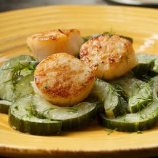 Seared Scallops With Sauteed Cucumbers.