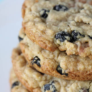 Blueberry, Caramel and White Chocolate Oatmeal Cookies.