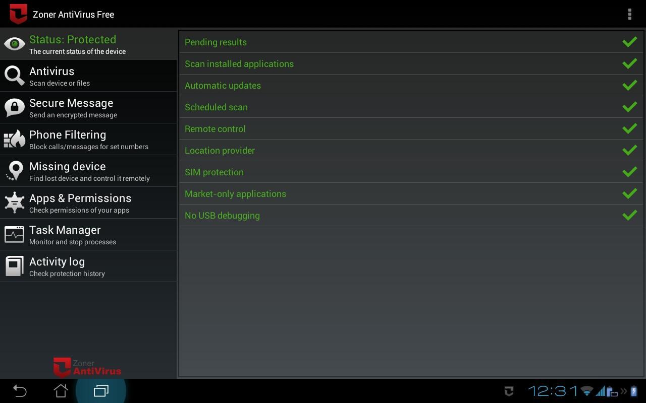 Zoner AntiVirus - Tablet- screenshot