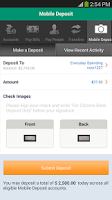 Screenshot of Citizens Bank Mobile Banking