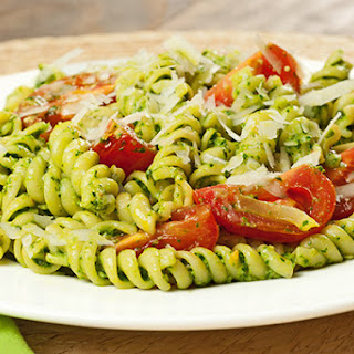 Rotini with Spinach-Basil Pesto and Tomatoes.