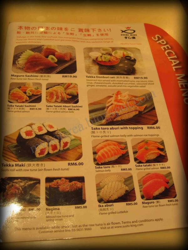 Special Seasoned Menu Sushi King Malaysia Food Restaurant Reviews