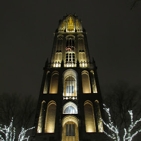 Dom, Utrecht by Fred Starkey - Buildings & Architecture Places of Worship ( mood, mood factory, holiday, christmas, hanukkah, red, green, lights, artifical, lighting, colors, Kwanzaa, blue, black, celebrate, tis the season, festive,  )