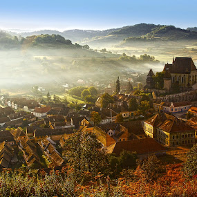 kind of magic by Nicu Hoandra - Landscapes Sunsets & Sunrises ( hills, fogcastle, sunrise, spring, colours )