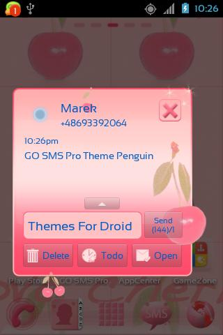 GO SMS Pro Theme Cherries - screenshot