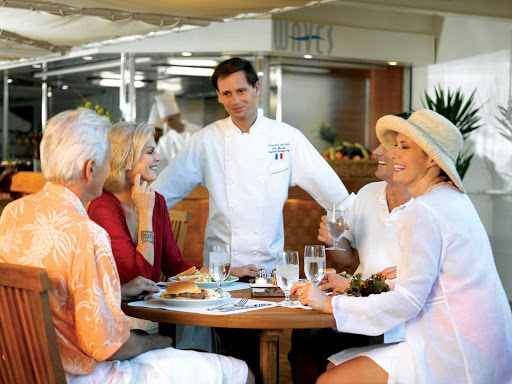You'll be well looked after during your casual lunch in Oceania Nautica's Waves restaurant.