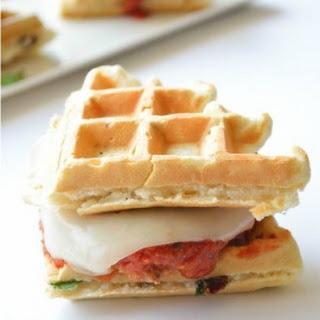 Chicken Parmesan Waffle Sandwiches.
