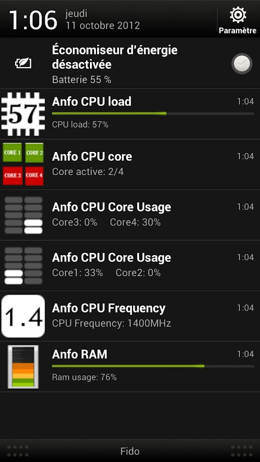 Anfo : hardware monitoring - screenshot