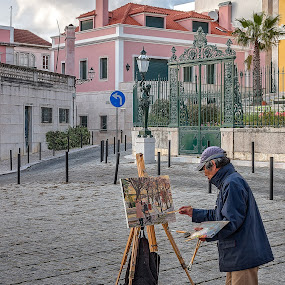 The Artist by Jay Gould - People Professional People ( color image, lisbon, painter, portugal, professional people, street photography )