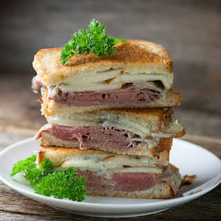 Grilled Roast Beef, Pear and Blue Cheese Sandwiches.