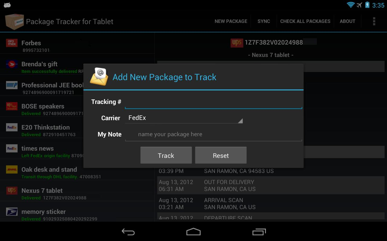 Package Tracker for Tablet- screenshot