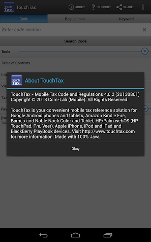 Tax Code and Regs - TouchTax Screenshot