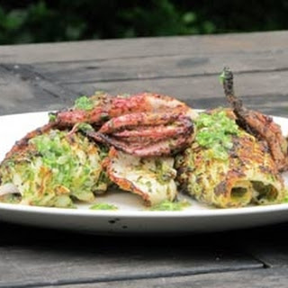 Barbecue Squid With Coriander Sauce.