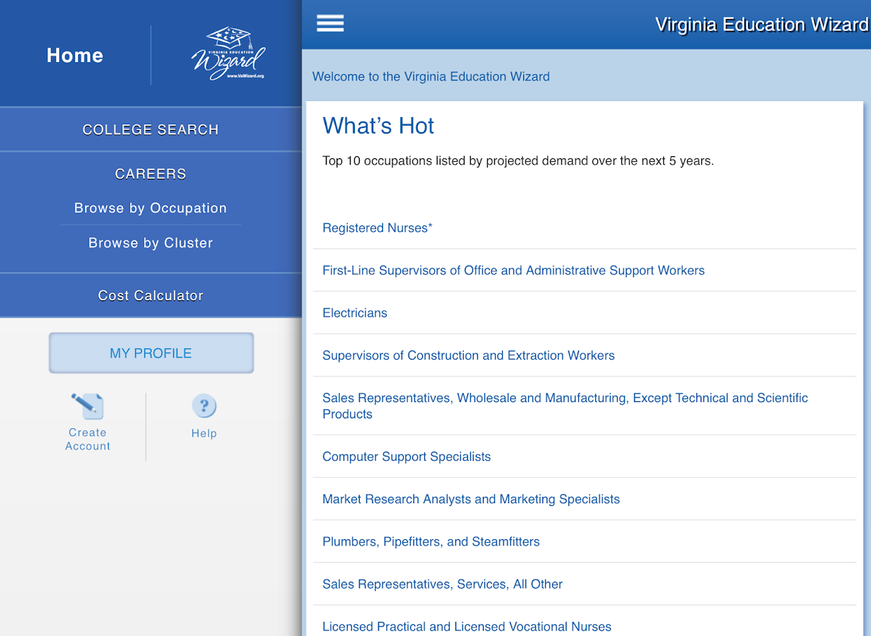 Virginia Education Wizard- screenshot